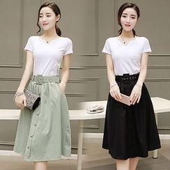 lilygirl - Set: Short-Sleeve Plain T-Shirt + Buttoned Midi Skirt