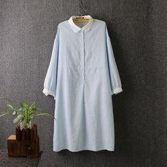 Blue Rose - 3/4-Sleeve Plain Linen Dress