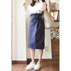 OZNARA - Paperbag-Waist Midi Skirt with Sash