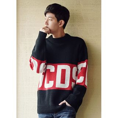JOGUNSHOP - Lettering Color-Block Sweater
