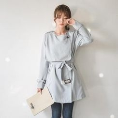 JUSTONE - Flap-Front Tie-Waist Trench Coat
