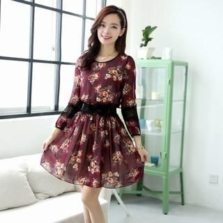 Aierys - Long-Sleeve Lace-Trim Floral Dress