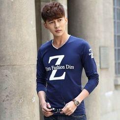 LIAN - V-neck Long-Sleeve Letter T-shirt