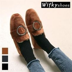 Wifky - Hoop-Accent Faux-Suede Loafers