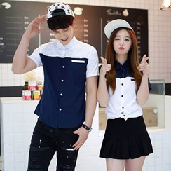 Azure - Couple Two-Tone Short-Sleeved Shirt