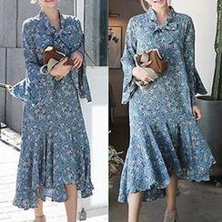 NEUF - Long-Sleeve Floral A-line Midi Dress