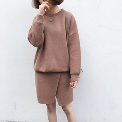A7 SEVEN - Set : Drop-shoulder Sweatshirt + Knit Skirt