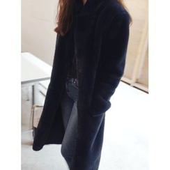 maybe-baby - Hidden-Button Faux-Fur Coat