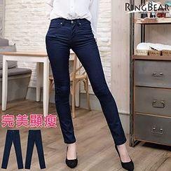 RingBear - 魅力无法挡激瘦完美曲线显瘦双口袋窄管小直筒牛仔裤/铅笔裤