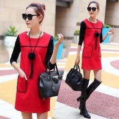 Kotoba - Long-Sleeve Color Block Woolen Dress