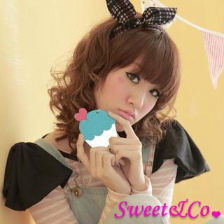 Sweet & Co. - XL Glitter Blue Cupcake Mirror Long Necklace