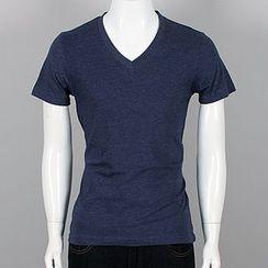 Seoul Homme - Plain V-Neck T-Shirt