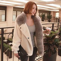 Seoul Fashion - Faux-Fur Two-Tone Jacket