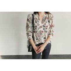 UPTOWNHOLIC - Open-Placket Floral Print Blouse