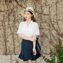 Envy Look - Notched-Collar Short-Sleeve Pinstripe Shirt
