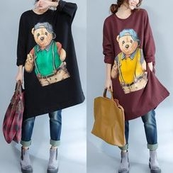 Epoch - Bear Print Long Sleeve Midi T-Shirt Dress