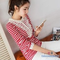 OrangeBear - Striped Neck Laced Placket Ribbed Top