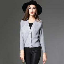 Y:Q - Plain V-Neck Cropped Cardigan