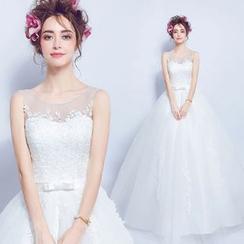 Angel Bridal - 無袖蕾絲A字婚紗