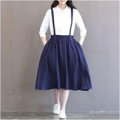 Snow Flower - Strapped Midi Skirt