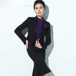 Aision - Blazer / Blouse / Ruffled Pencil Skirt