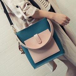 Velocia - Set: Color Panel Shoulder Bag + Zip Pouch