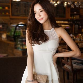 chuu - Halter Mesh Yoke Mini Dress