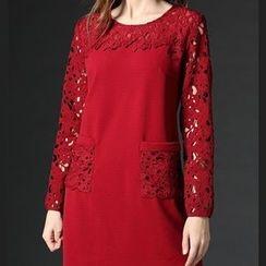 Mythmax - Long-Sleeve Paneled Perforated Dress