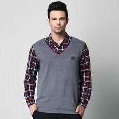 SENTA - Plaid Mock Two-Piece Shirt