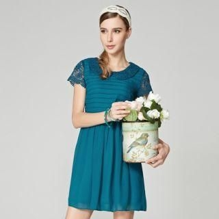O.SA - Peter Pan-Collar Crocheted-Panel Dress