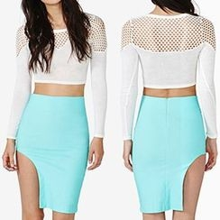 Richcoco - Asymmetric Hem Mini Skirt