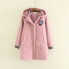 Mushi - Letter Hooded Knit Coat