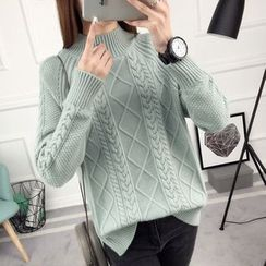 anzoveve - Cable-Knit Mock Neck Sweater