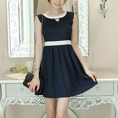 Q.C.T - Sleeveless Color Block Pleated Dress