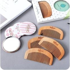 Eggshell Houseware - Set: Wooden Comb + Mirror