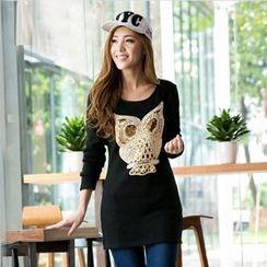 Zosia - Applique Owl Fleece-Lined Tunic