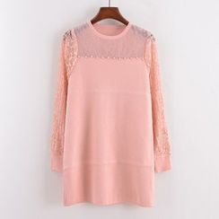 Tulander - Long-Sleeve Lace Panel Pullover Dress
