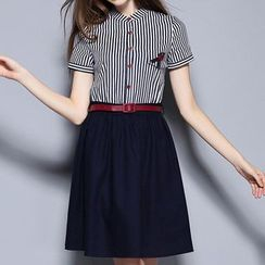 Merald - Striped Panel A-line Dress with Belt