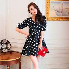 Tang House - Polka Dot Elbow-Sleeve Dress