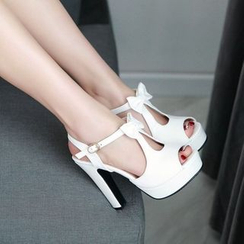 JY Shoes - High Heel Bow Accent Sandals