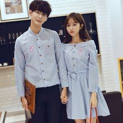 Proemio - Couple Matching Pinstripe Shirt / Dress