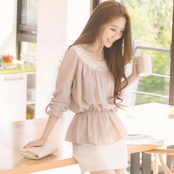 Tokyo Fashion - Long-Sleeve Lace-Yoke Top