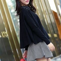 anzoveve - Set: Collared Knit Top + A-line Skirt