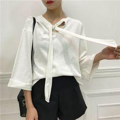 Octavia - Tie Neck 3/4 Sleeve Top