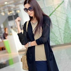 SO Central - Chiffon Panel Long Cardigan