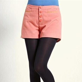 Moonbasa - Contrast-Trim Buttoned Tweed Shorts