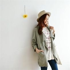 Styleberry - Wide-Lapel Tab-Sleeve Trench Jacket
