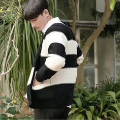 Seoul Homme - Raglan-Shoulder Rugby-Stripe Cardigan