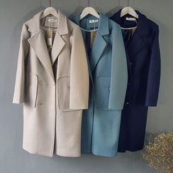 Glovon - Double Breasted Notch Lapel Long Coat