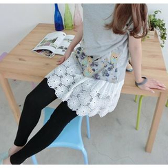 59 Seconds - Inset Floral Embroidered Skirt Leggings